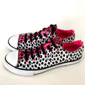 Converse Blk & WT Cheetah Print w/Neon Pink Chucks